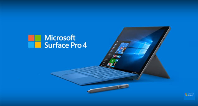 The Microsfot Surface Pro 4 featured against a blue background